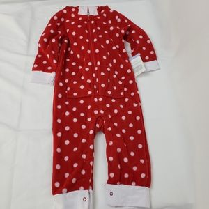 Hudson Baby hooded fleece jumpsuit. Red 24mths.